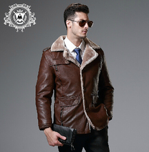 M-5XL Winter men's Simulation leather clothing plus velvet thicken plus size fur one piece motorcycle leather jacket outerwear