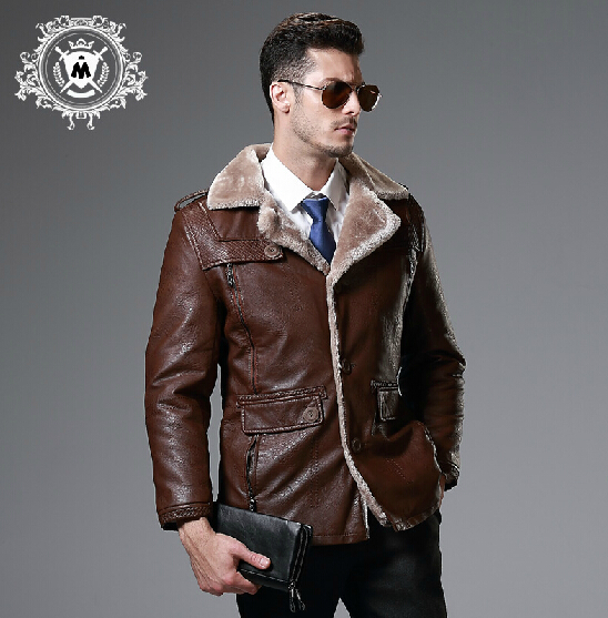 M 5XL Winter men's Simulation leather clothing plus velvet thicken plus size fur one piece motorcycle leather jacket outerwear