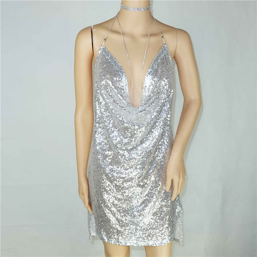 Veicool 2017 Summer Mini Dress Womens Sexy Gold Sequin Dress Champagne  Twinkle Sequin Overlay Dress Glitter Party Dress 4ab797d37041