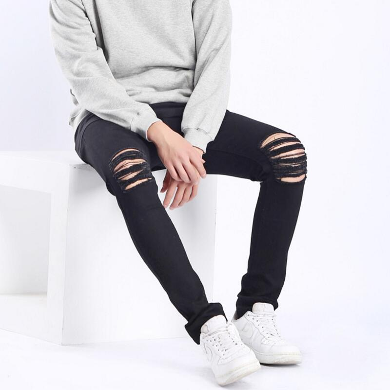 Tight Stretch Jeans Man Shredded Jeans