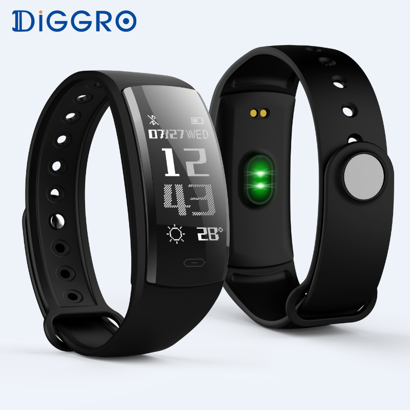 Diggro QS90 Smart Wristband Bracelet Bluetooth Heart Rate Monitor Pedometer Waterproof IP67 Health Sports Fitness for Android pedometer heart rate monitor calories counter led digital sports watch fitness for men women outdoor military wristwatches