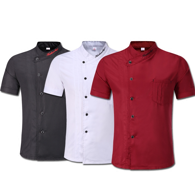 Kitchen Chef Uniform Breathable Single-breasted Food Service Jacket Unisex Restaurant Hotel Pastry Cook Wear Work Wear Uniforms