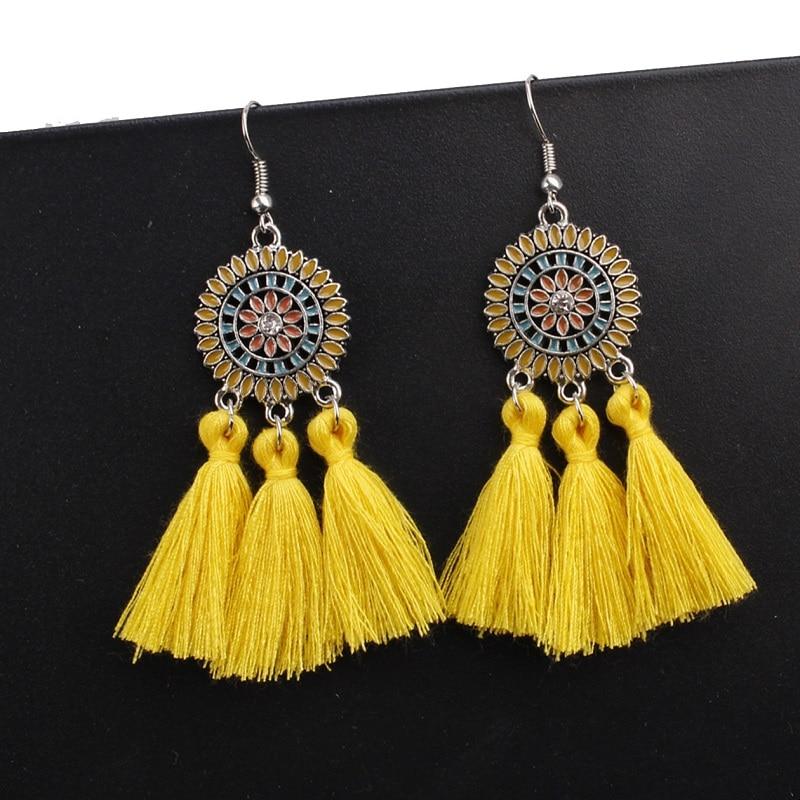 Exknl Large Long Yellow Tassel Earrings Women Statement Flower Fringe Earrings Boho Ethnic Party Drop Dangle Earrings Jewelry