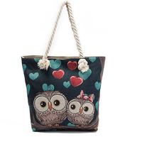 Casual Owl Printed Shoulder Bag Lady Large Capacity Women Tote Bags With Rope Cartoon Jacquard Pattern