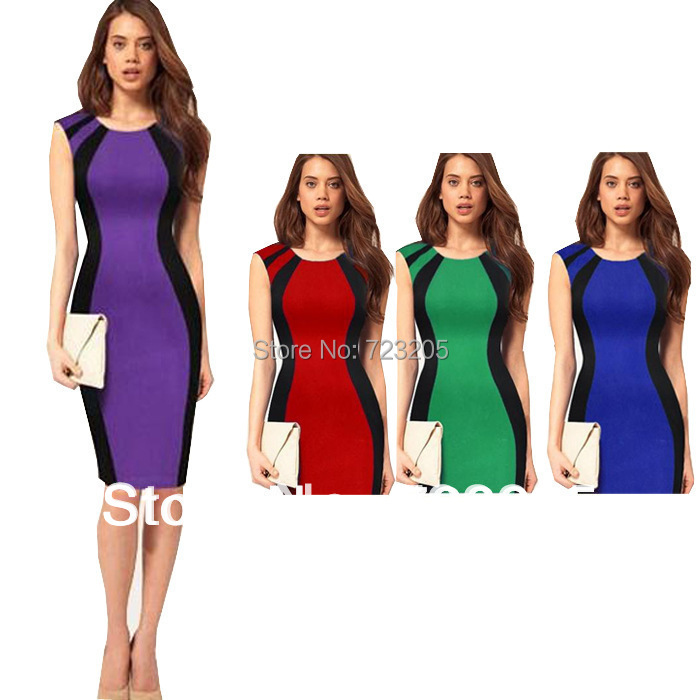 58452143711d Hot Selling New Arrival Purple/Red/Green/Blue Fashion Ladies Slim Pencil OL  Dress Knee-length Bodycon Party Dress