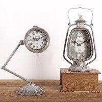 European Industrial Retro Clocks Table Lamp Lantern Clock Ornaments Home Office Living Room Window Decoration Display Props Gift