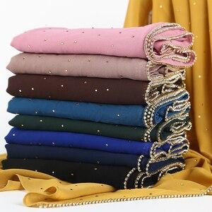 Image 2 - 1 pc Nuovo Arrivo pianura bling bolla chiffon sciarpa del hijab shimmer con la catena di cristallo orlato sciarpa sciarpe musulmane hijab