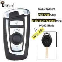KEYECU 315/315LP/433/868 mhz PCF7946 Chip de Dobramento Modificado Virar Remoto Chave Fob para BMW CAS2 1 3 5 6 série E93 E60 Z4 X5 X3 HU92