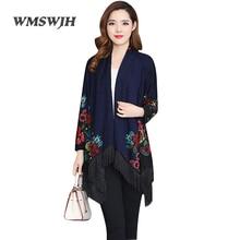 Wmswjh размера плюс L-7XL винтажные вязаные свитера весна свободные кисточки шаль плащ Повседневный цветочный кардиган Feminino
