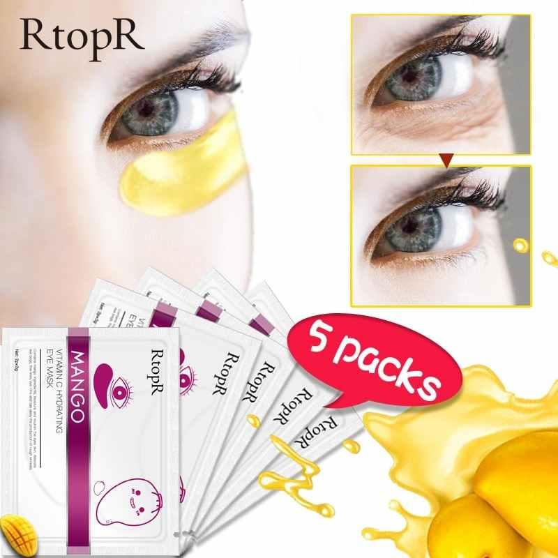 5 أزواج تبييض مكافحة الشيخوخة ثبات قناع عين المانجو ترطيب عيون فيتامين C الظلام الدوائر لصقة عين الرطوبة العناية بالبشرة