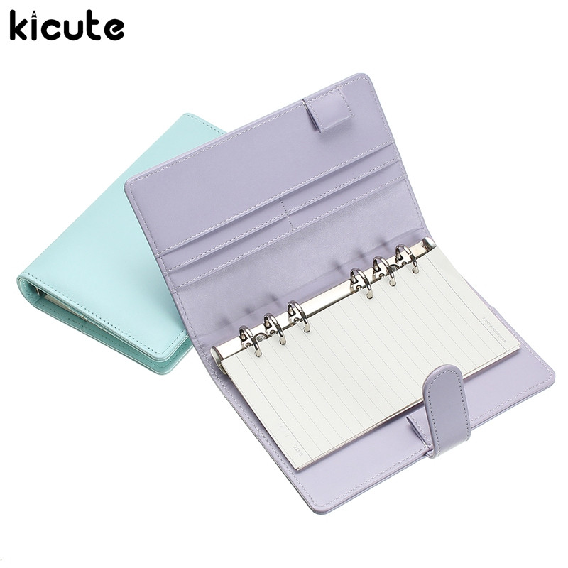 Kicute A6 Candy Color Leather Cover Loose Leaf Notebook Spiral Binder 6 Hole Loose Leaf Notepad Weekly Monthly Planner Gift a5 a6 macaron spiral notebook with refill candy color loose leaf notepad planner diary girlfriend gift office school supplies