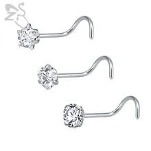 Piercing pour le Nez en acier inoxydable, 3 pièces/lot, Septum, strass, clou pour le Nez, Zircon cubique, anneaux de Nez, bijou