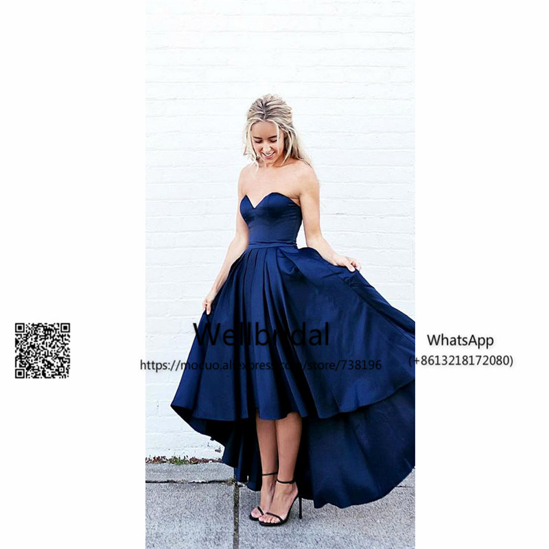 Hi Lo Gown 2017 Royer Blue Bridesmaid Dress Wedding Party Dress Sweetheart Vestido Longo De Festa Prom Bridesmaid Dresses