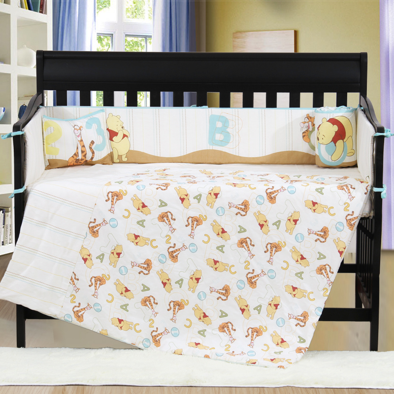 4PCS embroidery baby boy Cot Crib Bedding Set kit berco bebe Quilt Bumper Sheet ,include(bumper+duvet+sheet+pillow) promotion 6pcs baby bedding set cot crib bedding set baby bed baby cot sets include 4bumpers sheet pillow