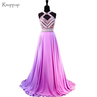 Unique Long Evening Dress 2017 New Arrival Women Formal Dresses Top Beaded Crystal Light Purple Chiffon Backless Evening Gowns