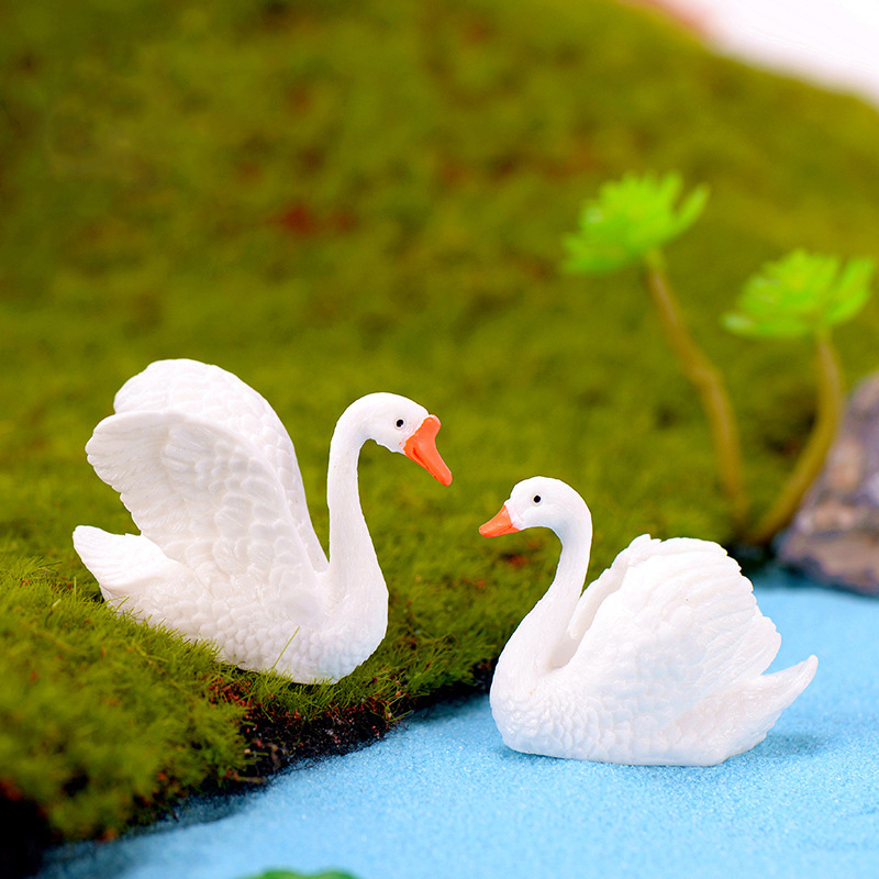Yard & Garden Decor Home & Garden Objective Simulation Animal Toy Black White Lifelike Swan Ornament Micro Landscape Decor