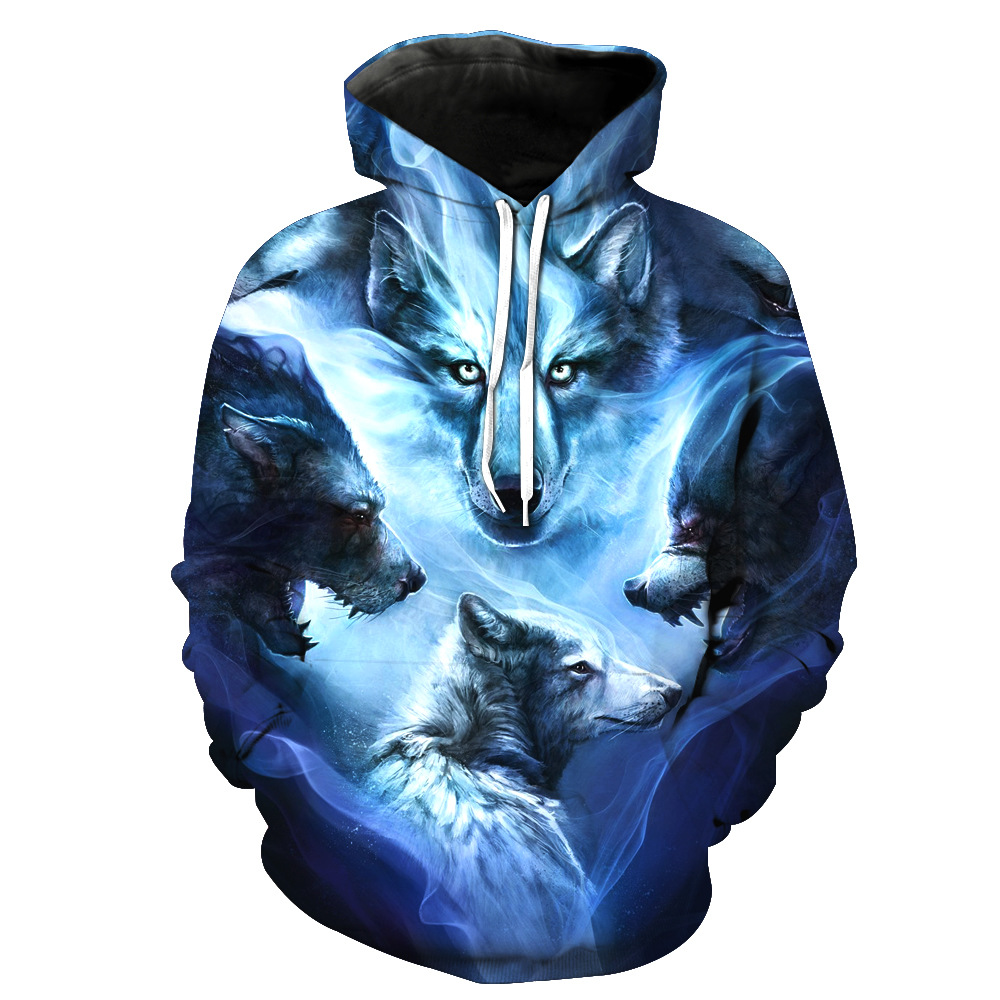 2018 New Unisex Women/Men Fashion Sweatshirts Snow Wolf 4 heads jacket Winter harajuku 3d hooded Hoodies Casual Clothes Tops