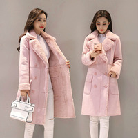 Women Suede Jacket New 2018 Autumn Winter Long Sleeved Pink Coats Ladies Slim Warm Thick Patchwork Meidum Long Faux Suede Jacket