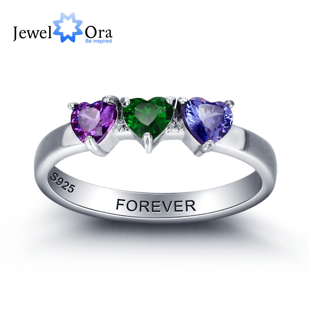 Engagement-Ring Personalized Birthstone Heart 925-Sterling-Silver Color Cubic-Zirconia