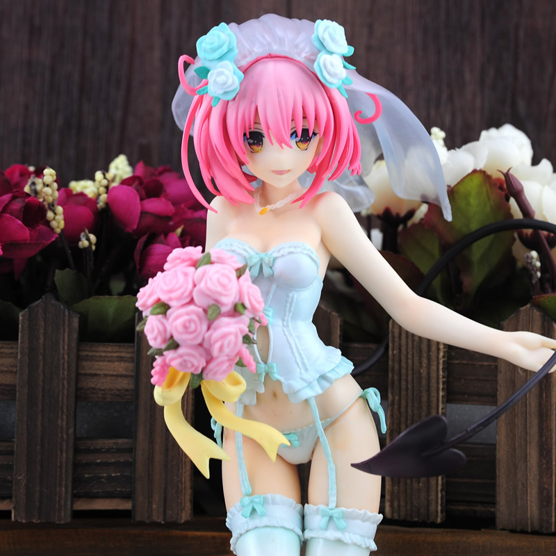 25cm Sexy Wedding Dress Anime Figure Model To Love-Ru Momo PVC Action Toy Collectibles Brinquedos Christmas Gift with box xx0122 free shipping 6 volcaloid hatsune miku with guitar ver boxed 14cm pvc action figure collection model doll toy figma 200