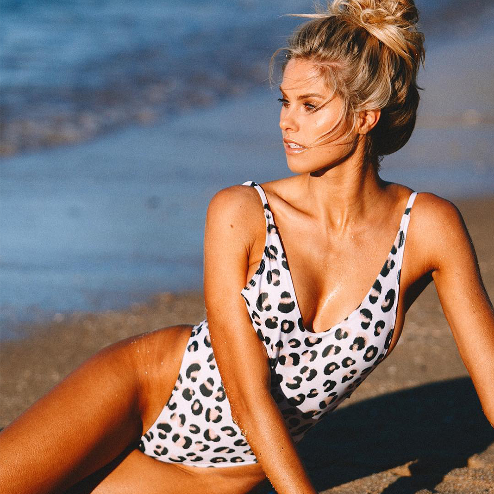 Цельный купальный костюм badpak женский купальник купальный костюм леопардовый монокини с v образным вырезом купальник трикини maillot de bain