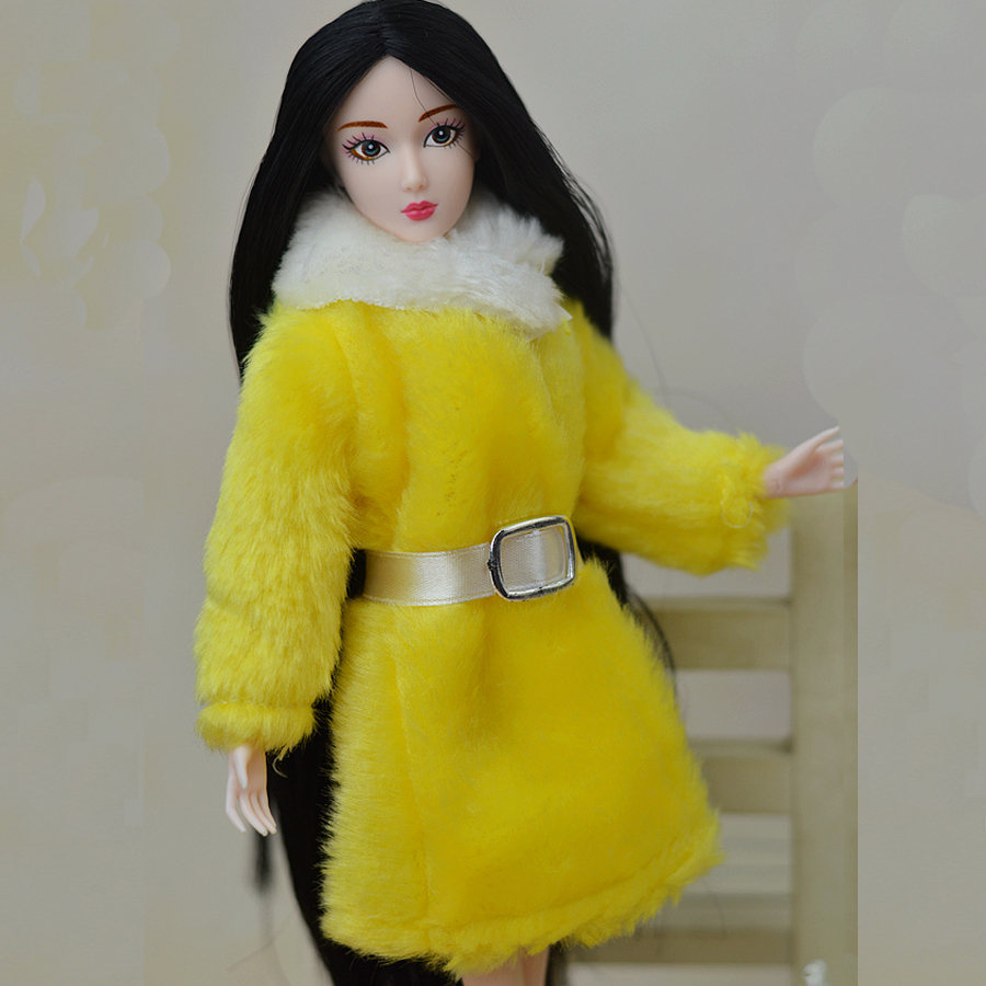 Doll Equipment Winter Put on Yellow Fur Coat Costume Garments For Barbie Dolls Fur Doll Clothes For 1/6 BJD Doll Children Toy