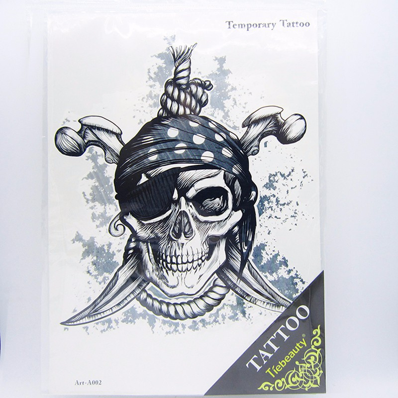 1pcs Big Cool Death Skull Tattoos For Men, Beautiful Arm Back Skull Pirate Waterproof Large Temporary Tattoo Stickers 30*21cm 5