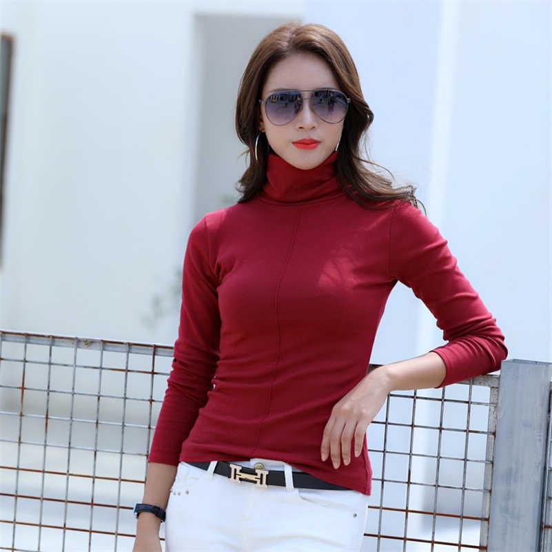 YANMUXI Осень Новый Черный Высокий воротник с длинным рукавом Тонкий хлопок женские топы плюс размер Дикая мода сплошной цвет Женская рубашка