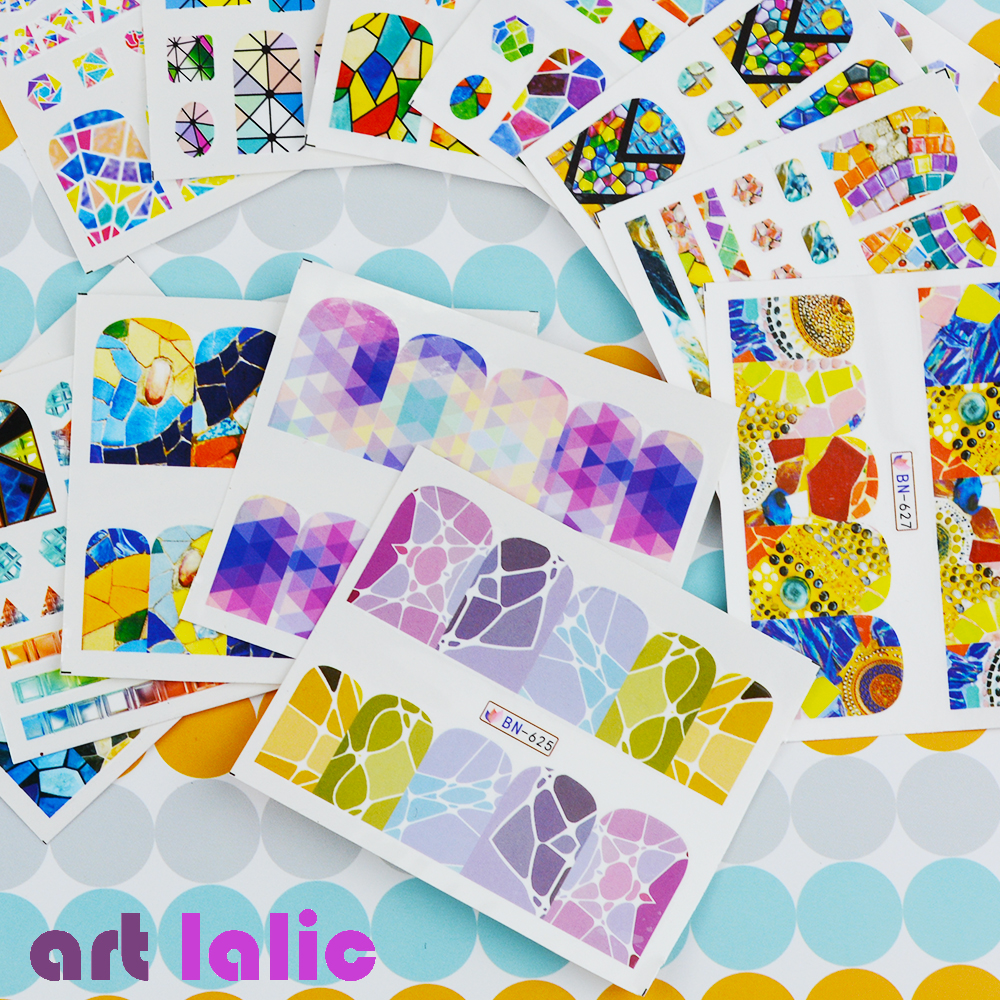 Artlalic 1 Sheet 12 Designs Geometry Water Transfer Nail Stickers Fashion Full Cover Image Decals Beauty Nail Art Tool BN625-636 2016 2sheets manicure tips beauty purples oil printing 3d diy designs nail art water transfer stickers decals full cover xf1405