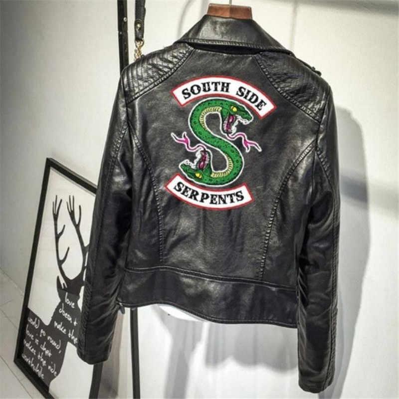 Quente-ar americano drama vale cidade senhoras jaqueta de couro do plutônio casaco personalidade simples cobra bordado jaqueta riverdale americano