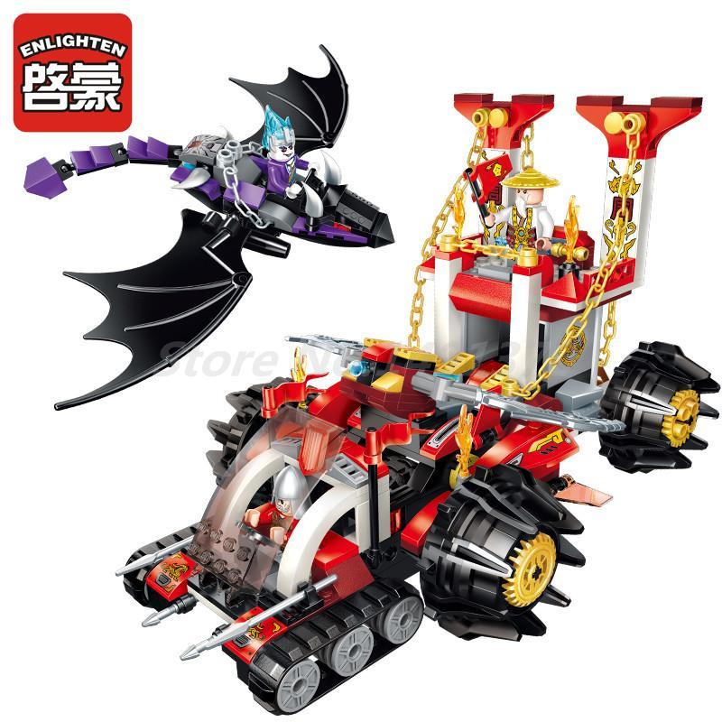 Enlighten 2215 Creation Of The Gods Commander Chariot 3 Figures Building Block Sets Model DIY Boy Gift Toys For Children