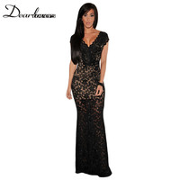 Women Formal Evening Party Dresses Sexy Black Red Lace Nude Illusion V Neck Low Backless Dress