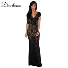 Women Formal Dresses Sexy Black Lace Nude Illusion V-Neck Low Backless Long Maxi  Dress Vestidos Longos LC6676 89fd82e08a72