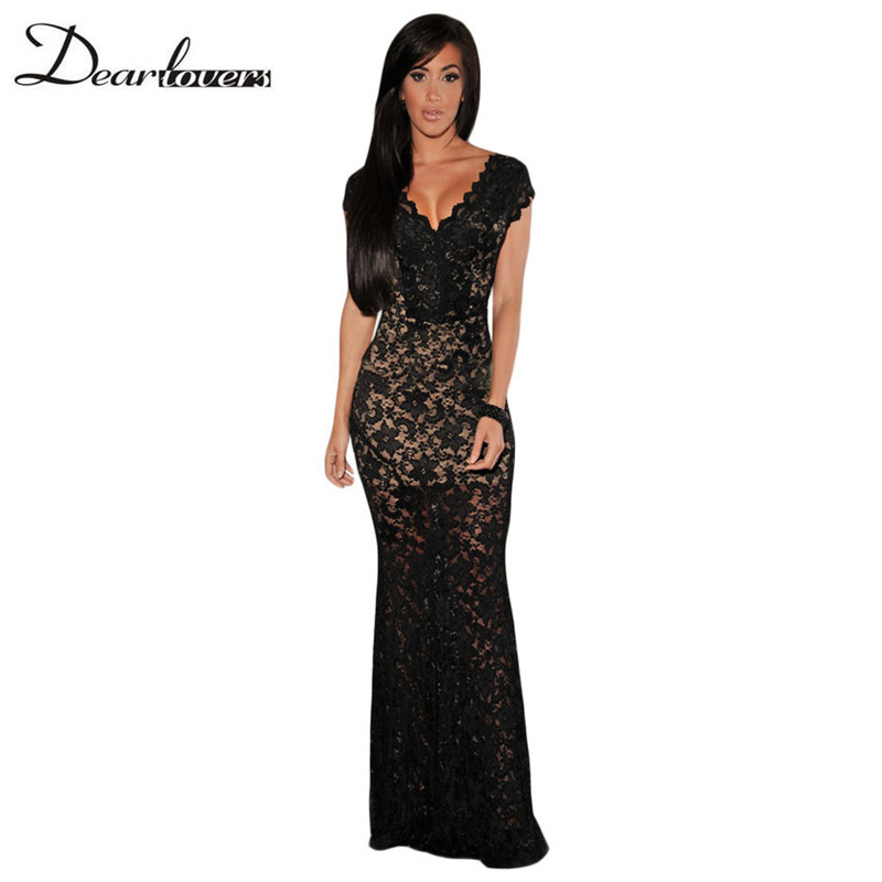 Dear lover Women Formal Dresses Sexy Black Lace Nude Illusion V-Neck Low Backless Long Maxi Dress 2017 Vestidos Longos LC6676