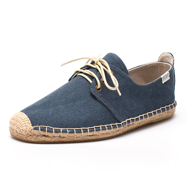 8a749bf52 Men lace-up flat espadrilles in navy blue color, Canvas upper, cotton  fabric lining, rubber outsole