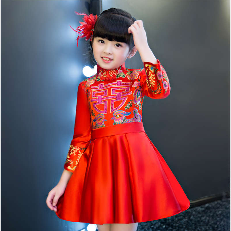 Girls Children Chinese-Style Red Color Tribute Silk Princess Party Dress Kids Babies Birthday Dress New Years Ceremonies Dress 2017 autumn new style 3 10 years girls dresses children bud silk princess dress long sleeved red christmas party dress