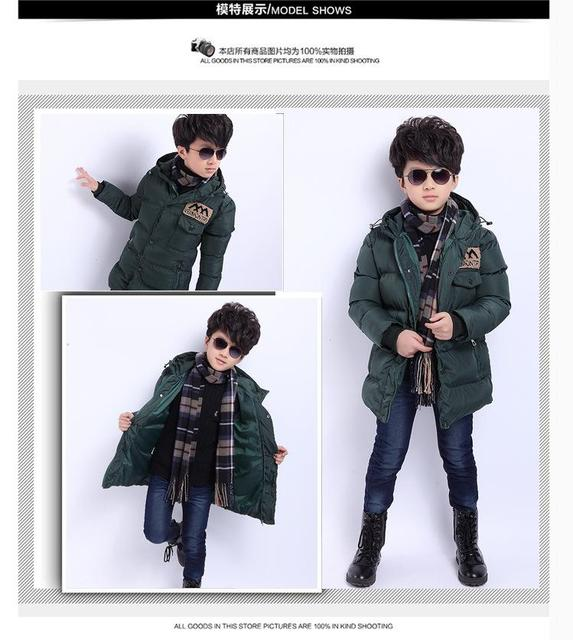 2016 Winter Cotton-padded clothes Warm Child Wadded Jacket Kids Thickening Down Brand Big Boy M Design Coat Childrens clothing