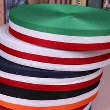 45 м/рулон модная цветная полиэфирная полосатая лента красная
