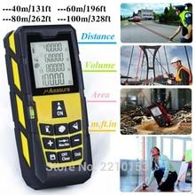 Yellow Laser Distance Meter Handheld Level Rangefinder Measure Area/Volume 120ft (40m)/ 185ft (60m)/ 245ft (80m)/ 320ft (100m)