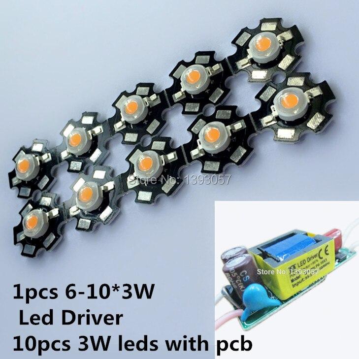 free shipping 10pcs 3w full spectrum <font><b>led</b></font> 400-840nm +1pcs 6-10x3w 600mA <font><b>led</b></font> driver diy 30w <font><b>led</b></font> <font><b>grow</b></font> light for plants lamp