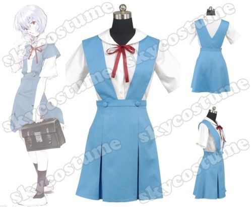 Evangelion EVA School Summer Uniform Cosplay Costume Women Girls Short Blue Dress Full Set