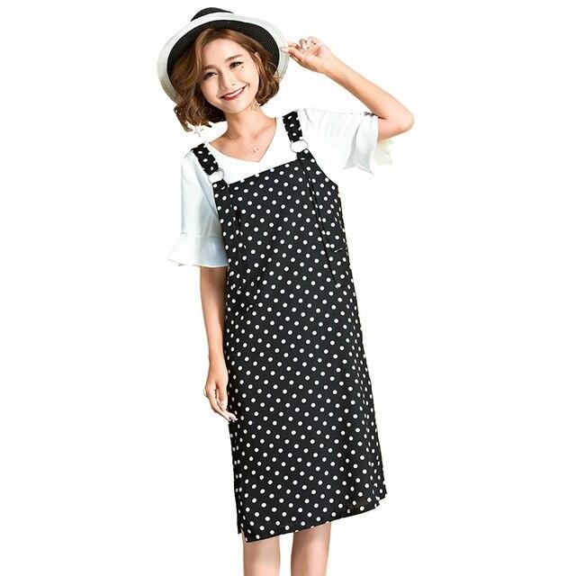 f6916afbe6 2017Summer female clothes set polka dot strap dress+white t shirt Cute tank Dress  casual vestido twinset Plus size XL-XXXXXL1776