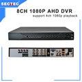 8CH 1080 P AHD DVR Oferece Suporte a WIFI/3G ICloud 4*1080 P Reprodução, suporte 2 SATA HDD (MAX 12 TB) Chip HI3531 AHD CCTV Gravador de DVR