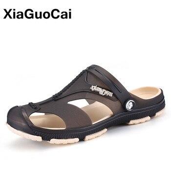 XiaGuoCai 2018 Summer Men's Slippers, Slip-On Garden Shoes, Breathable Men's Sandals, Plus Size Male Beach Shoes Flip Flops 1