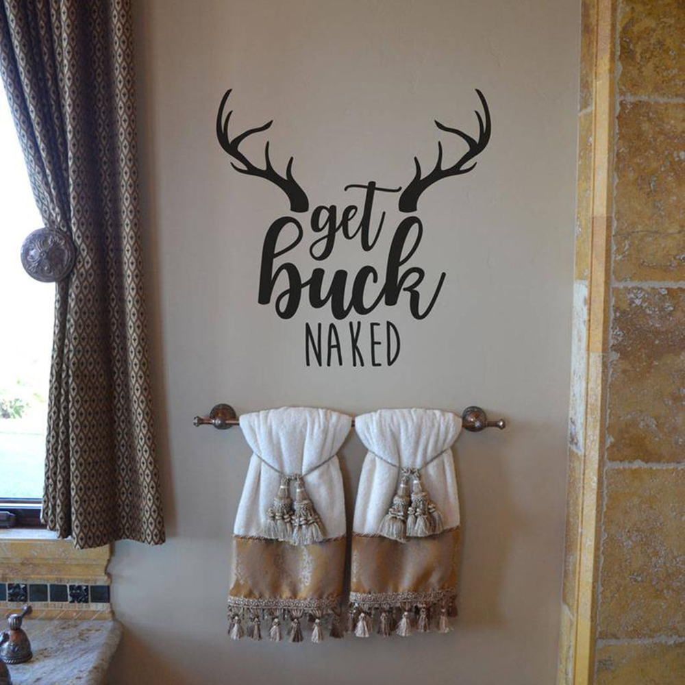 Get Buck Naked Bathroom Wall Glass Decal Bathroom Shower Get Naked Deer Quote Wall Sticker Washing Room Vinyl Home Decor in Wall Stickers from Home Garden