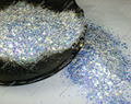50g x White with Blue Light Shinning Glitter Mixed Size Hexagon Powder Shape for Gel Nail Art&Craft Decoration