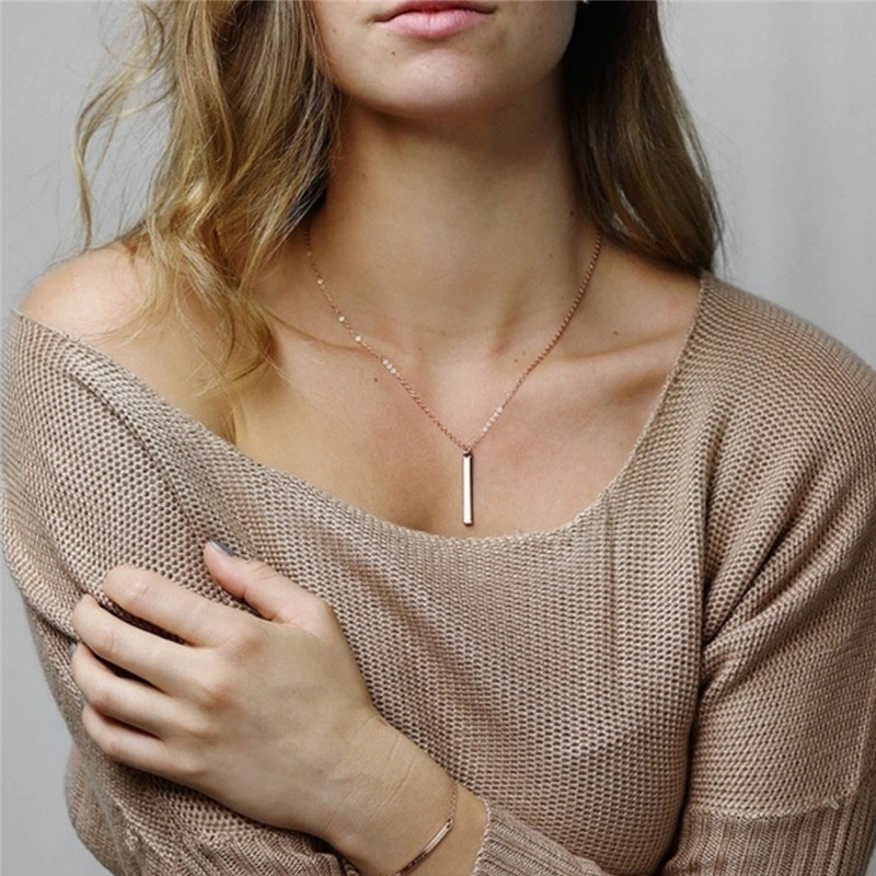 Minimalist Initial 26 Letter Necklace Silver Heart Choker Rose Gold Chain Bar Necklace Women Name Necklace Personalized Jewelry in Pendant Necklaces from Jewelry Accessories