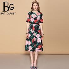 цены Baogarret New 2019 Fashion Runway Summer Dress Women's Short Sleeve Floral Print High Waist Slim Elegant A-Line Mid Dress