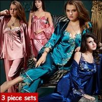 2015 New Spring Autumn Elegant Womens Silk Satin 3 Piece Sleep Suit 3pcs Pajama Sets Sleepwear
