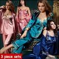 2016 nova primavera outono elegante mulheres de cetim de seda 3 peça sono terno 3 pcs conjuntos de pijama sleepwear mulheres salão pyjamas710
